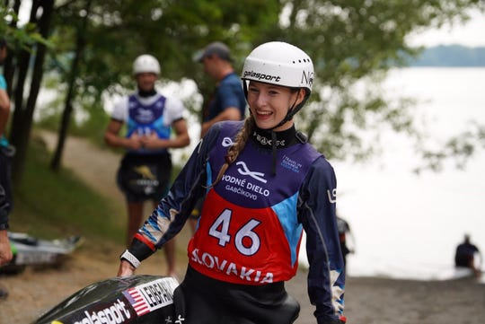 Evy Leibfarth, 15, of Bryson City, is representing the United States as the youngest female competitor in the ICF World Cup whitewater slalom races this summer in Europe