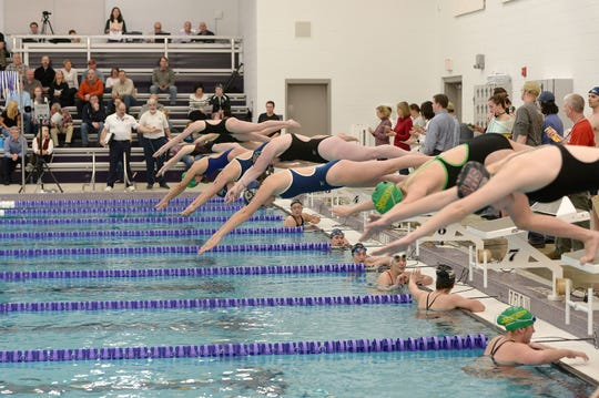 Buncombe County swimmers competed in the first meet at the new Buncombe County Schools Aquatic Center in January. The facility is open for lap swimming.