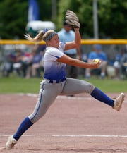 Maine Endwell's Emily Hess pitches during the 2018 Class A semifinal against Averill Park at the NYSPHSAA Softball Championships in Ganesvoort.