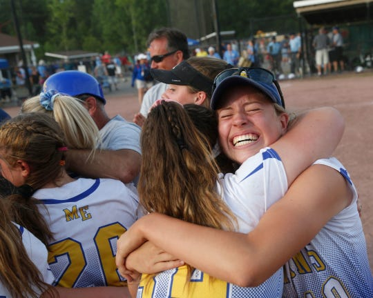 Maine Endwell's Amanda DeSantis, left, and Melissa Demo celebrate winning the Class A final versus Iroquios at the NYSPHSAA Softball Championships in South Glens Falls Saturday, June 9, 2018.