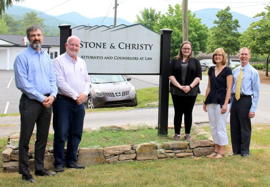 From left to right: Stone and Christy Law Firm staff James Ellis, William Christy, Tori Deal, Carrie Maresh and Bryant Webster.