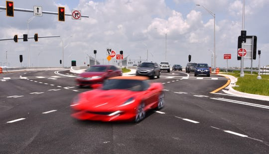 The diverging diamond interchange at Interstate 95 and Viera Boulevard could open as soon as Monday.