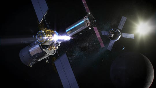 An artist's rendering of NASA's logistics module docked with Gateway in lunar orbit.