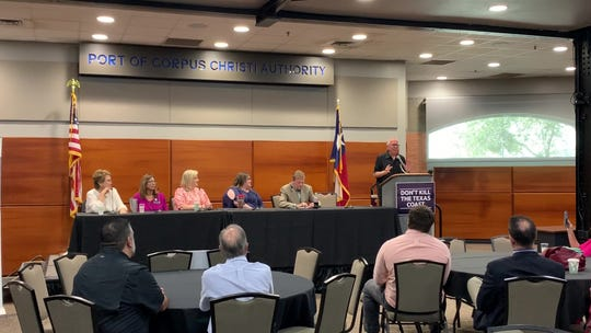 State Rep. Todd Hunter discusses successes at the legislative level to curb rate increases from the Texas Windstorm Insurance Association during a June 26, 2019 event.