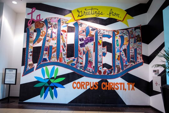 This mural at La Palmera mall was created during a mural arts camp in 2018 help by K Space Contemporary.