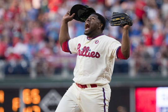 May 18, 2019; Philadelphia, PA, USA; Philadelphia Phillies relief pitcher Hector Neris (50) reacts after a victory against the Colorado Rockies at Citizens Bank Park. Mandatory Credit: Bill Streicher-USA TODAY Sports