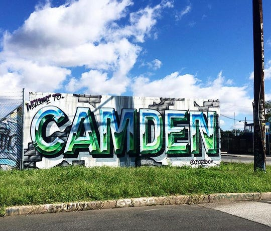 A mural welcomes visitors to Camden.