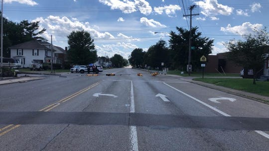 The lights on East Main Street at Douglas Avenue have been temporarily removed after a semi truck crashed into a pole on Tuesday.