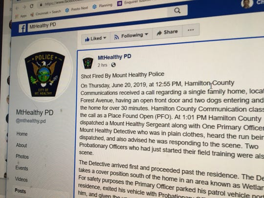 A photo of a Mount Healthy Police Department Facebook post shows how the department is using social media to explain how a dog was shot and killed by an officer outside a house while investigating a call about a front door being left open and dogs entering and leaving.