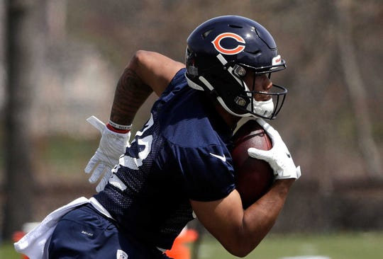 Former Iowa State running back David Montgomery runs during the Bears' rookie minicamp on May 3 in Lake Forest, Ill.