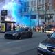 NASCAR driver Kurt Busch does a burnout in downtown Cincinnati as goldRush Rally stops by