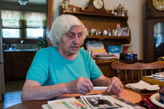Ellie Baltimore recalls what it was like growing up in wartime Germany, speaking at her home in Clarksville in June 2019.