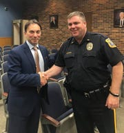 Mayor Brad Cohen (left) with East Brunswick Police Lt. Frank LoSacco, who will take over the position of township chief of police on Aug. 1.
