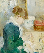 """Woman Sewing"", about 1879, Berthe Morisot, French; oil on canvas."