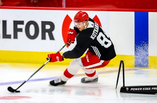 Red Wings prospect Kasper Kotkansalo participates in drills during the Red Wings Development Camp at BELFOR Training Center inside Little Caesars Arena on Wednesday, June 26, 2019.