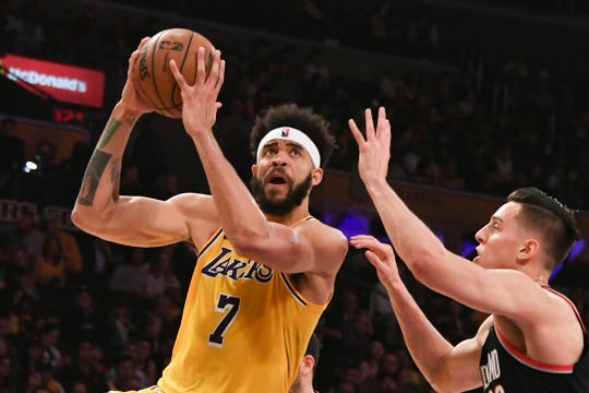 Los Angeles Lakers center JaVale McGee shoots against the Portland Trail Blazers at Staples Center, April 9, 2019.