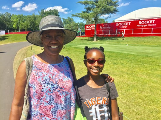 Mahdia Davis, 11, of Harper Woods, made her first visit to a golf course Wednesday June 26, 2019 when her grandmother, Leona Claxton, took her to the Rocket Mortgage Classic at Detroit Golf Club.