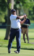 Barry Sanders hits from the first fairway during the Delta Dental Pro-Am at the Rocket Mortgage Classic Wednesday, June 26, 2019 at the Detroit Golf Club in Detroit.