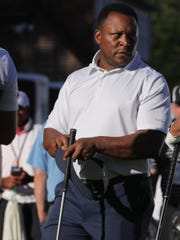 Former Detroit Lions running back Barry Sanders waits to tee off during the Delta Dental Pro-Am at the Rocket Mortgage Classic Wednesday, June 26, 2019 at the Detroit Golf Club in Detroit.