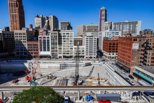 A few construction workers can be seen working at the Hudson's site development in downtown Detroit photographed on Tuesday, June 11, 2019.