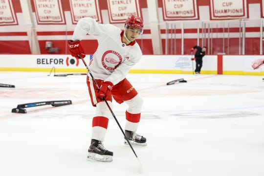 Red Wings forward Joe Veleno participates the Detroit Red Wings 2019 development camp at Little Caesars Arena on Wednesday, June 26, 2019.