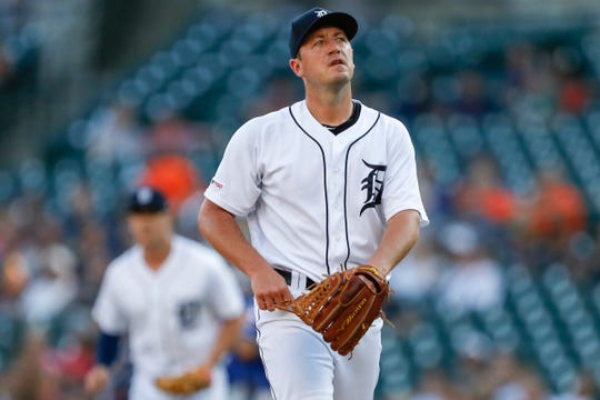 Tigers starting pitcher Jordan Zimmermann (27) walks to the dugout during the first inning against the Texas Rangers at Comerica Park on June 25, 2019.