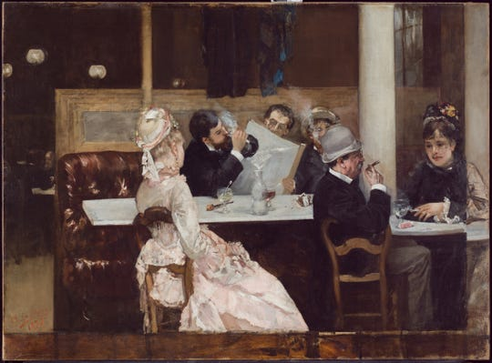 "In Henri Gervex's 1877 ""Café Scene in Paris,"" friends unwind with glasses of absinthe while reading newspapers and smoking cigarettes."