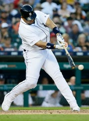 Tigers designated hitter Miguel Cabrera singles against the Texas Rangers during the sixth inning of the Tigers' 5-3 loss on Tuesday, June 25, 2019, in Detroit.