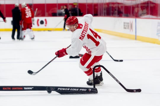 Center Robert Mastrosimone skates around an obstacle during the Red Wings development camp.