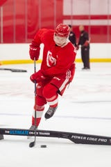 Otto Kivenmaki skates through drills during the Detroit Red Wings development camp.