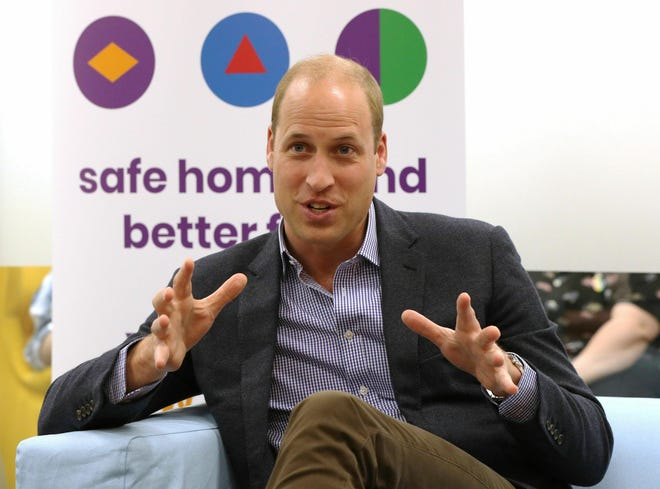 Britain's Prince William, the Duke of Cambridge, speaks to former and current service users during a visit to the Albert Kennedy Trust to learn about the issue of LGBTQ youth homelessness and the unique approach that the organisation is taking to tackling the problem.