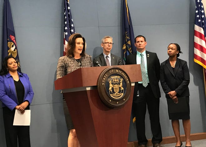 Gov. Gretchen Whitmer rolled out a public information campaign in Lansing, Wednesday, June 26, 2019, to educate the public on new lead and copper rules that could result in higher test results in some homes.