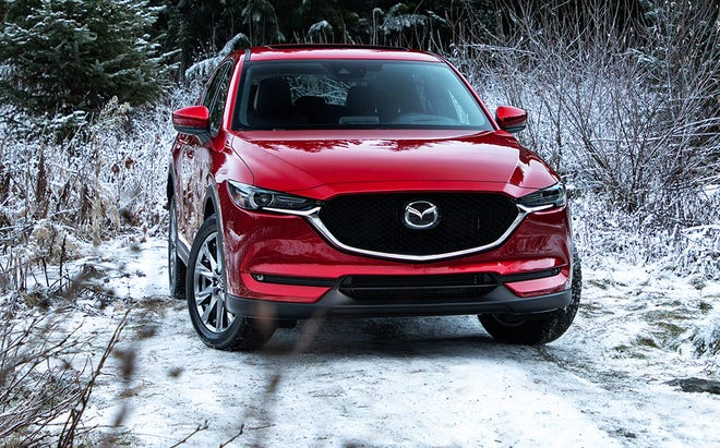 The CX-5's newly available 2.2-liter four-cylinder SKYACTIV-D diesel engine delivers 290 lb-ft torque at 2,000 rpm and 168 horsepower at 4,000 rpm.