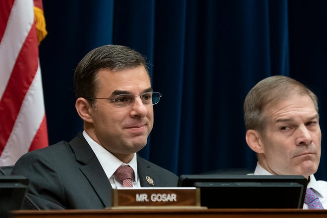 Rep. Justin Amash, R-Mich., left, joined at right Rep. Jim Jordan, R-Ohio, votes with Democrats on the House Oversight and Reform Committee to subpoena presidential counselor Kellyanne Conway for not appearing before the panel after allegations that she repeatedly violated the Hatch Act in this file photo from Wednesday, June 26, 2019.