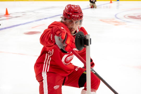 Right wing Albin Grewe was the Red Wings' third-round draft pick last weekend, and patterns his game after noted pest Brad Marchand.