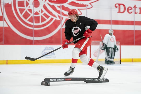 Defenseman Moritz Seider skates around an obstacle during the Red Wings development camp.
