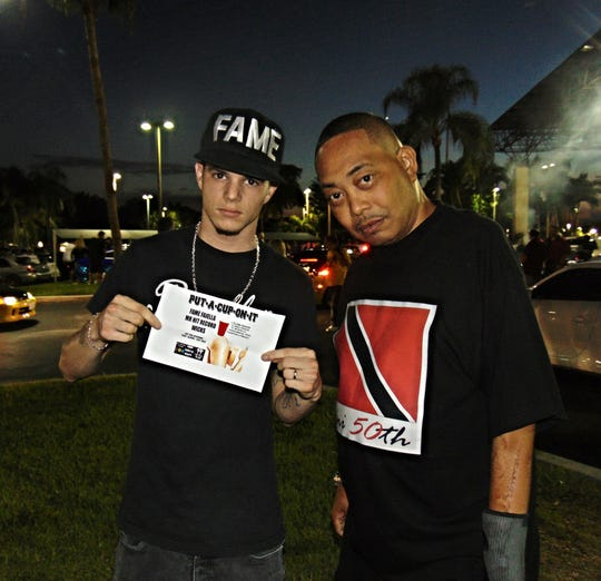 "Cape Coral rapper Colin ""Fame"" Faiella with his mentor, Fresh Kid Ice of 2 Live Crew, promoting the Faiella single ""Put A Cup On It."""