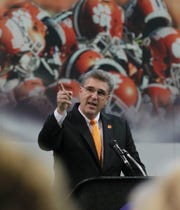 Clemson University Athletics director Dan Radakovich speaks during a groundbreaking ceremony for a new Indoor Football Facility. The $55 million project is expected to open in Feburary 2017.