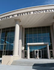 The front steps at the Allen N. Reeves Football Complex in Clemson.