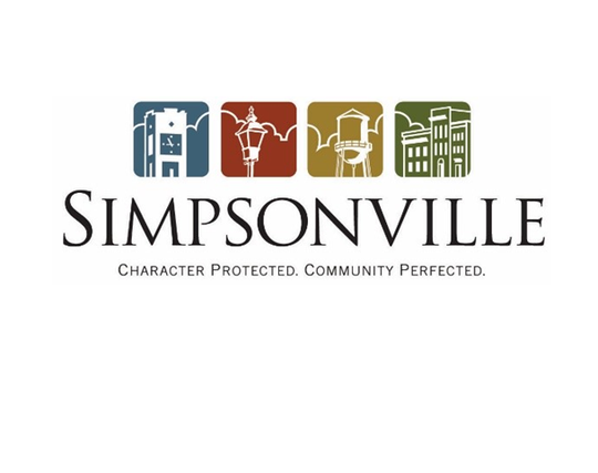 "Simpsonville's current logo, which includes the tagline ""Character Protected. Community Perfected."""