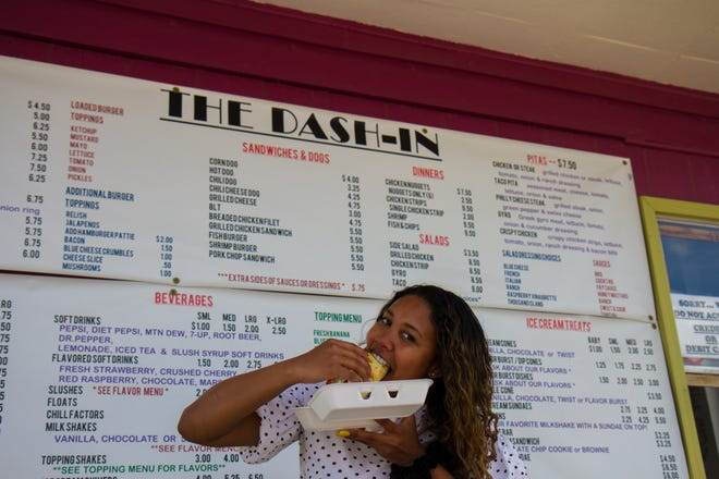 Chowing down a gyro at Dash-In