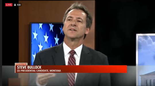 Gov. Steve Bullock takes questions Wednesday from WHO-TV viewers in Des Moines, Iowa