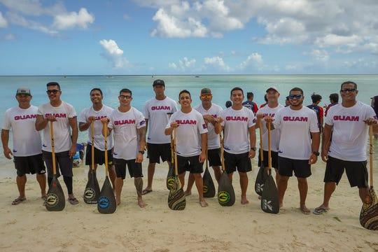 Guam men's national paddling team. From left: David Palomo (coach), Joseph Nowell, Jesse Cabrera, Christopher Salas, Klyde Castro, Matthew Savares, John Sablan, Collin Murphy, John Aguon, Shane Palomo and Johnny Palomo.