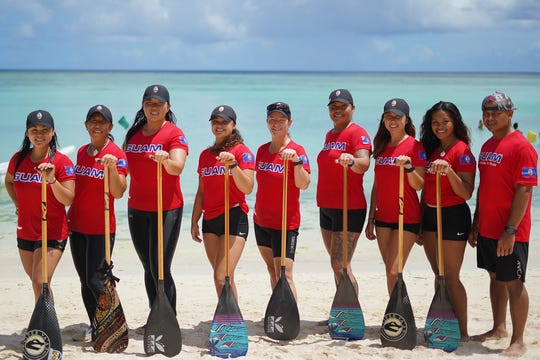 Guam women's national paddling team. From left: Jenynne Guzman, Misako Sablan, Sue Jin Lee, Isabelle Gutierrez, Diane Vice, Ruby Rose Castro, Michele Salas, Kiara Quichocho and Josh Duenas (coach). Not in the image is Kai Perez.