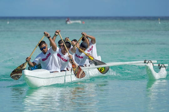 The Guam national team passes the finish line at the 1,000-meter race in the MPRA Galaide Cup Series 1 June 22.
