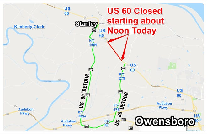 This shows the location of the long-term work on U.S. 60, and the marked detour.