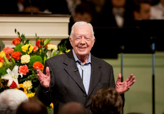 FILE - In this Aug. 23, 2015, file photo, former President Jimmy Carter teaches Sunday School class at Maranatha Baptist Church in his hometown  in Plains, Ga.   (AP Photo/David Goldman)
