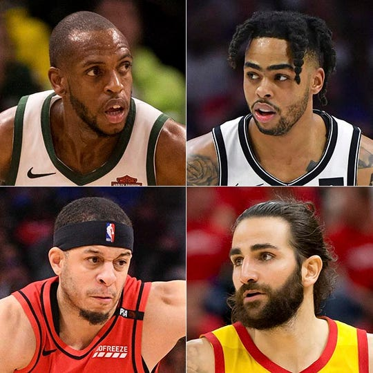 Top row: Khris Middleton (left) and D'Angelo Russell. Bottom row: Seth Curry (left) and Ricky Rubio