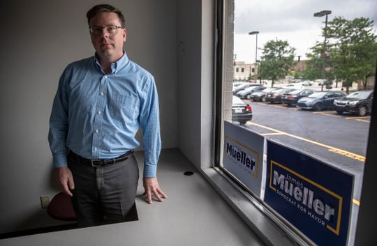 James Mueller, a Democrat in the mold of Pete Buttigieg, is running for the popular two-term mayor's office, South Bend, Monday, June 24, 2019. If elected, Mueller will have to face issues of local violence and shootings by police that some community activists have called attention to in recent years.