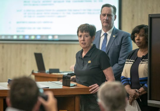 Muffet McGraw, head coach of the women's basketball program at University of Notre Dame, talks to about 150 people after receiving keys to Mishawaka and South Bend at a Common Council meeting, South Bend, Monday, June 24, 2019.